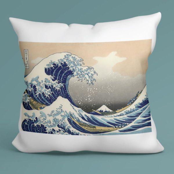 Cuscino La grande onda di Kanagawa, Hokusai