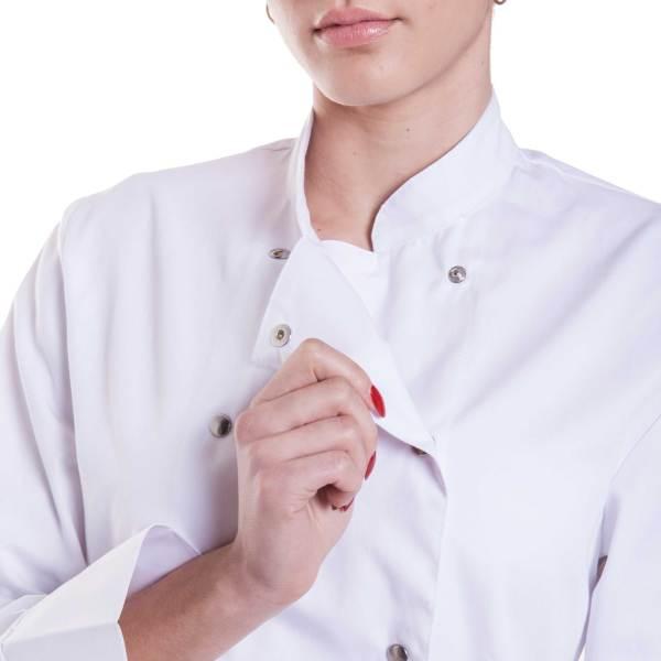 Giacca cuoco donna bianca bottone a pressione