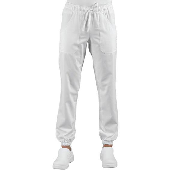 Pantalone Chef bianco con elastico alla caviglia